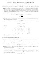 Formula Sheet For Linear Algebra - Final