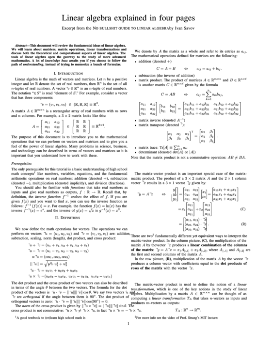Linear Algebra Explained In Four Pages
