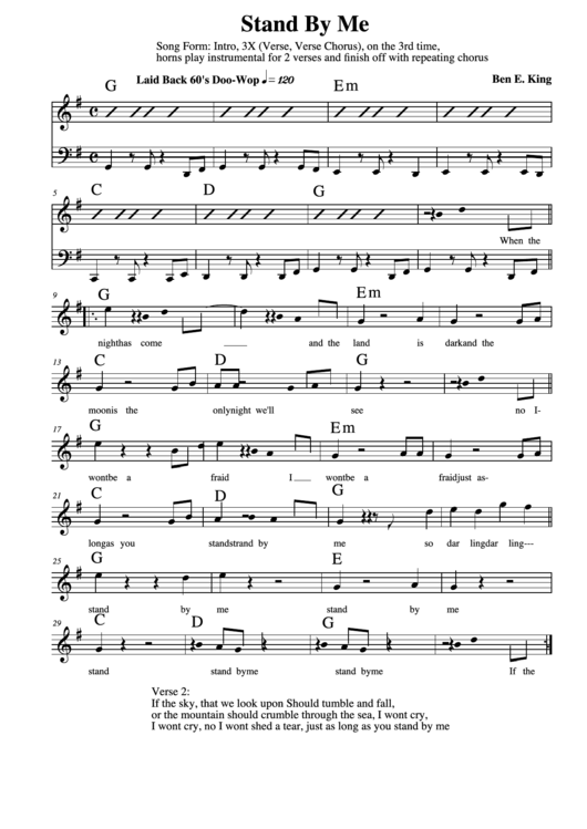 Top Stand By Me Sheets Music free to download in PDF format