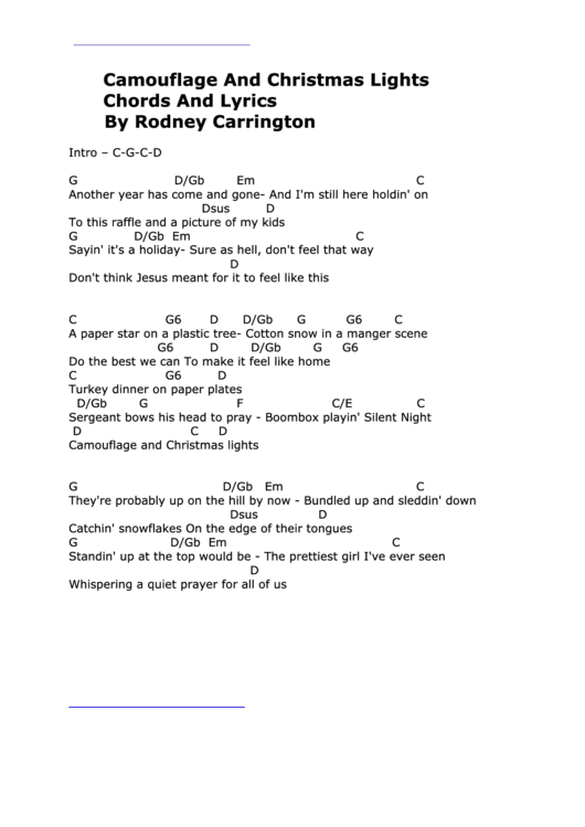 Camouflage And Christmas Lights Chords And Lyrics By Rodney