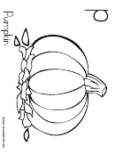 P Is For Pumpkin Coloring Sheet