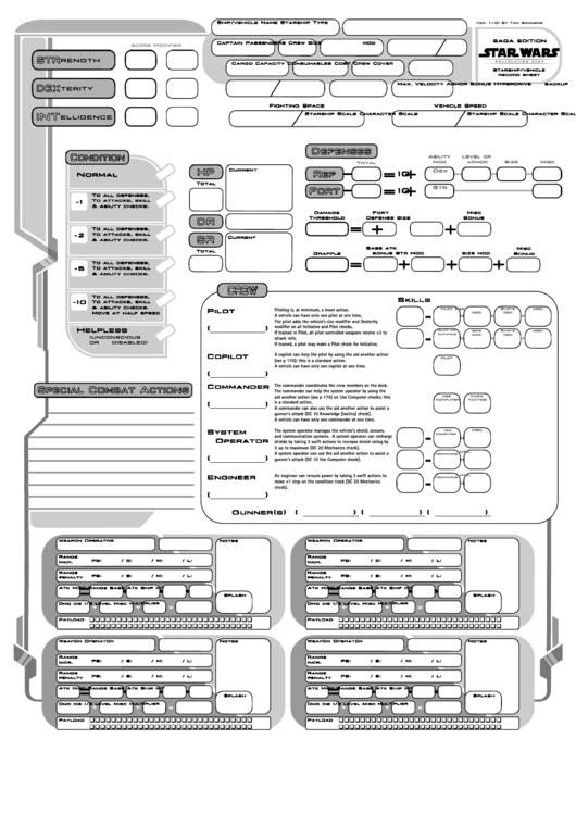 Star Wars Character Sheet - Saga Edition