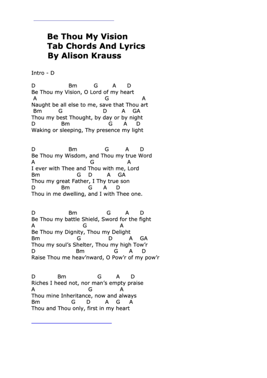 Be Thou My Vision (Tab Chords And Lyrics By Alison Krauss) printable ...
