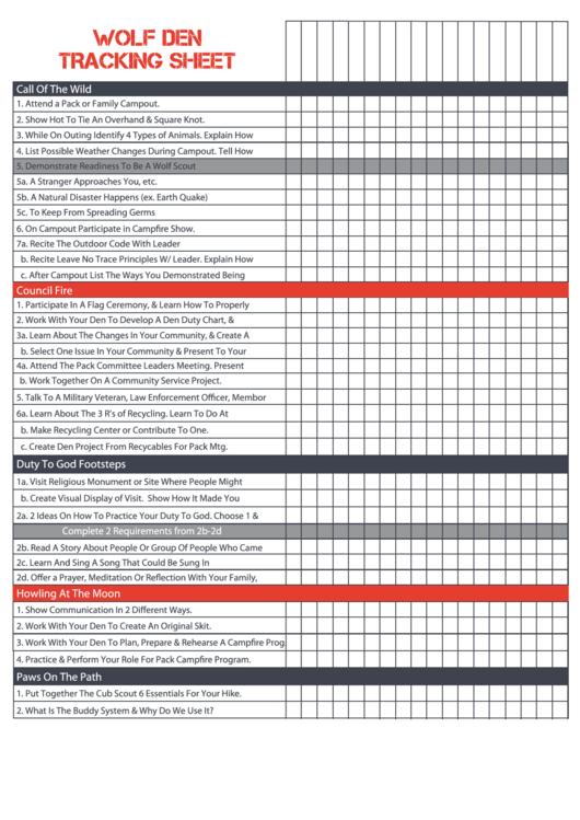 Wolf Den Tracking Sheet Printable Pdf Download