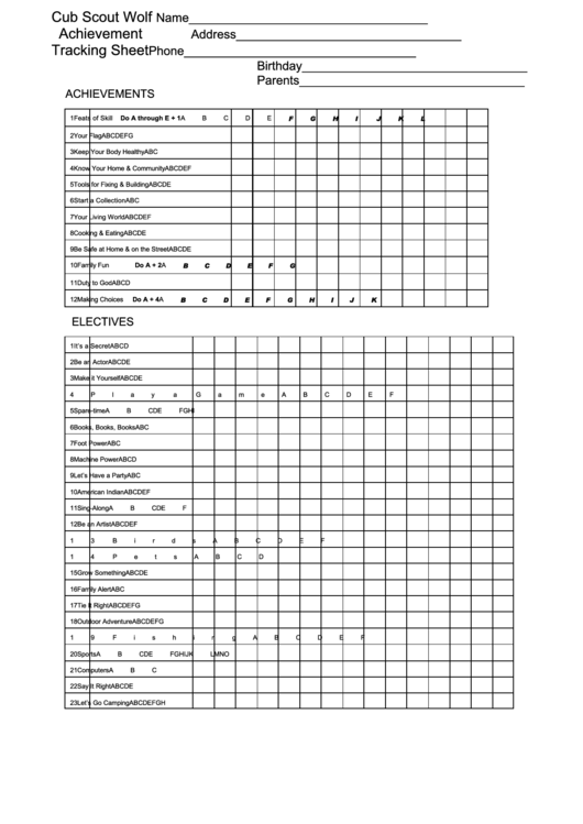 Cub Scout Wolf Achievement Tracking Sheet Printable Pdf