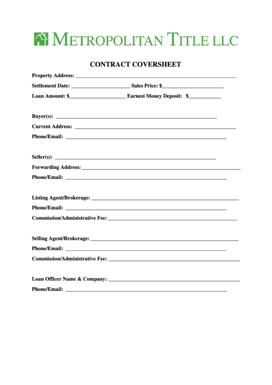Contract Coversheet