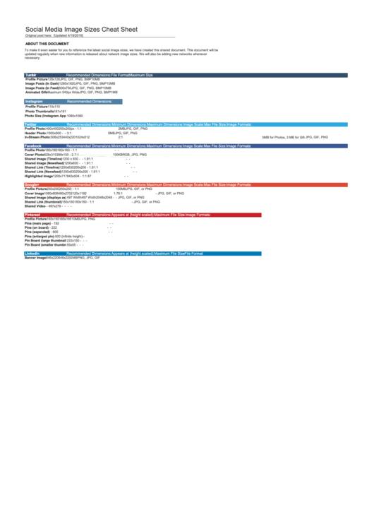Social Media Image Sizes Cheat Sheet Printable pdf