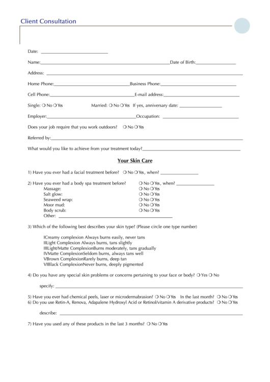 client consultation form printable pdf download