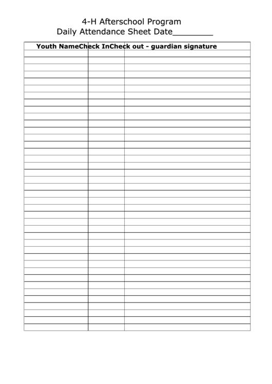 4-h Afterschool Program Daily Attendance Sheet