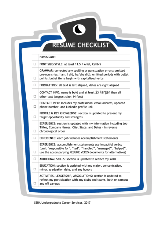 Resume Checklist Printable pdf