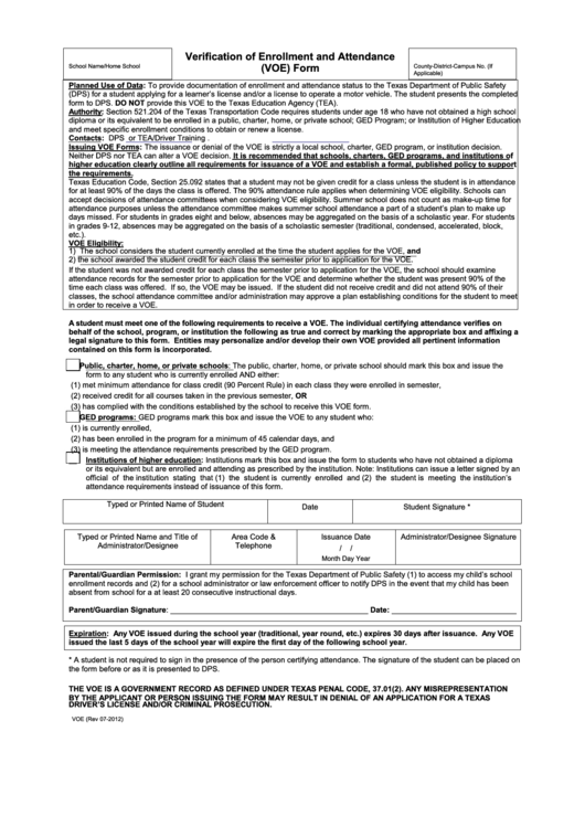 Texas Verification Of Enrollment And Attendance (voe) Form ...
