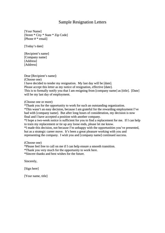 Sample Resignation Letter Template Printable pdf