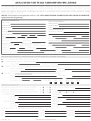Application For Texas Hardship Driver License