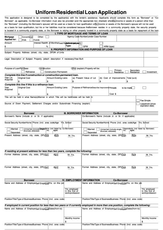page_1_thumb_big  Uniform Residential Loan Application Form Gmi on
