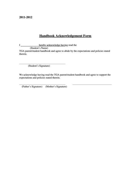 handbook acknowledgement form printable pdf download