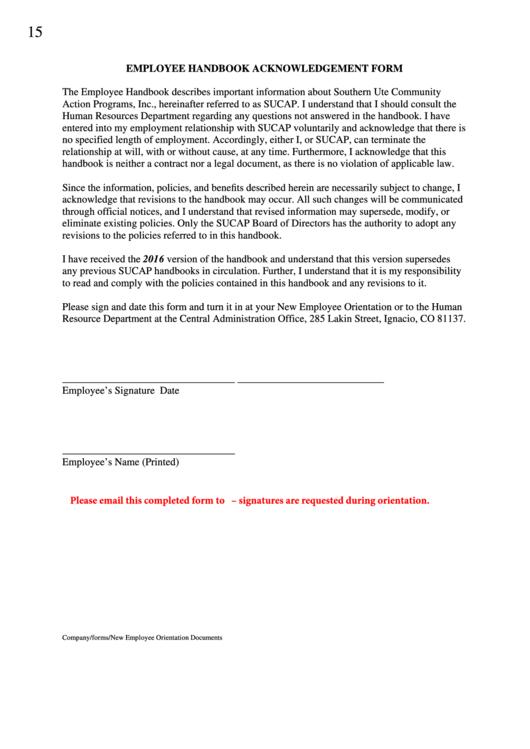 Top Employee Handbook Acknowledgement Form Templates Free To - Employee handbook acknowledgement form template