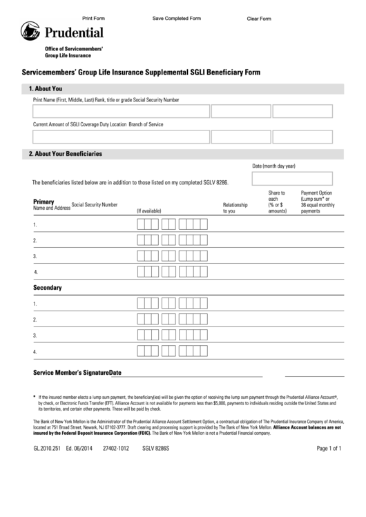 Fillable Form Sglv 8286s Servicemembers Group Life