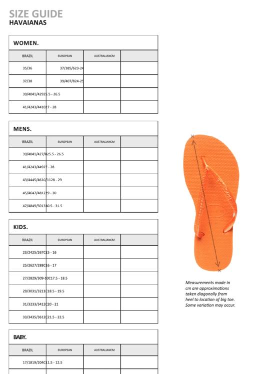 Havaianas Shoe Size Chart Printable Pdf Download