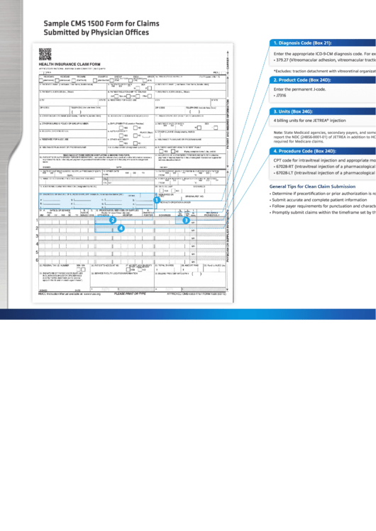 Sample Cms 1500 Form For Claims Submitted By Physician Offices