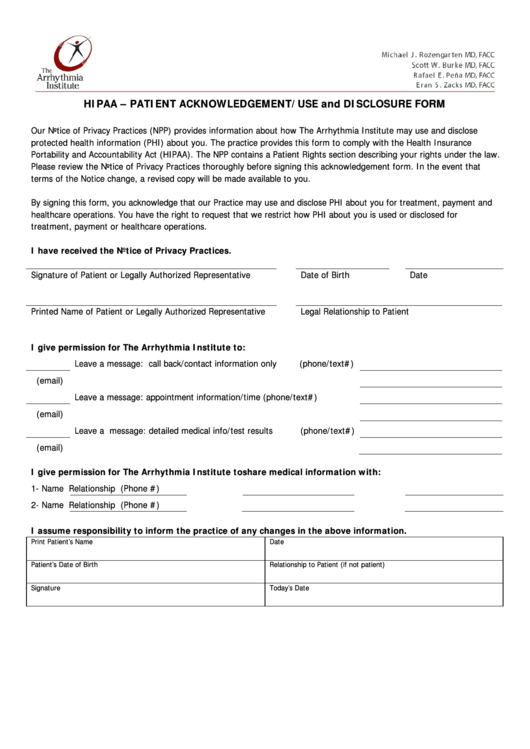 Hipaa - Patient Acknowledgement/use And Disclosure Form Printable pdf