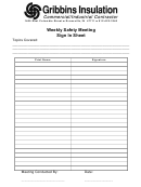 Weekly Safety Meeting Sign In Sheet Template