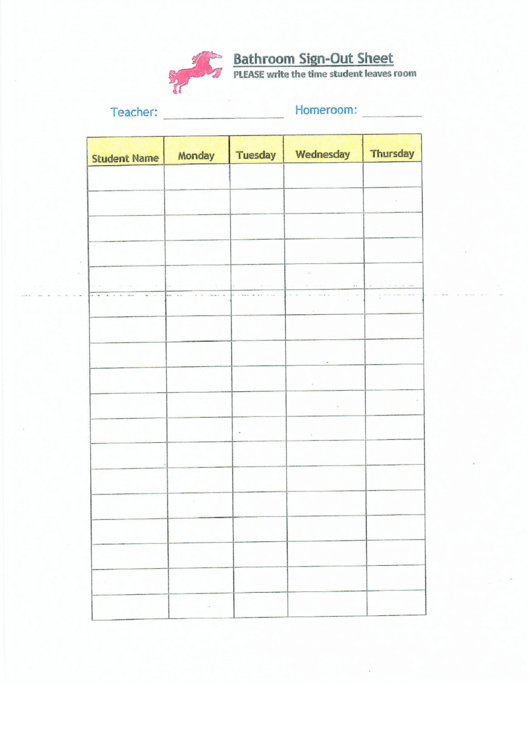 Bathroom Signout Form