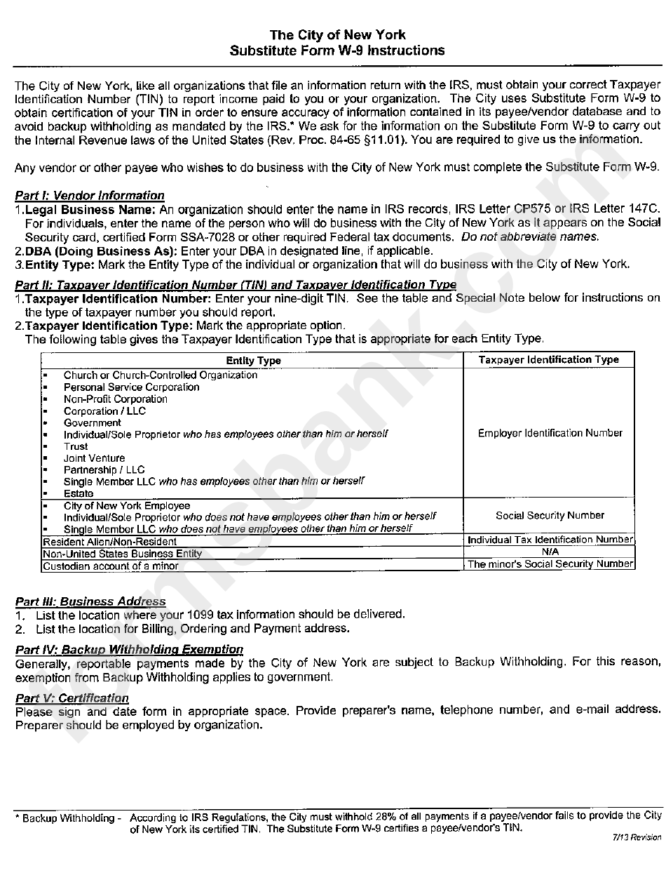 Substitute Form W 9 Request For Taxpayer Identification Number