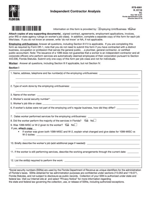 Independent Contractor Analysis - Florida Department Of Revenue Printable pdf