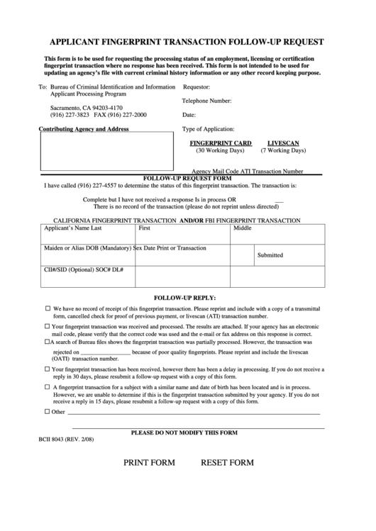Applicant Fingerprint Transaction Follow-up Request