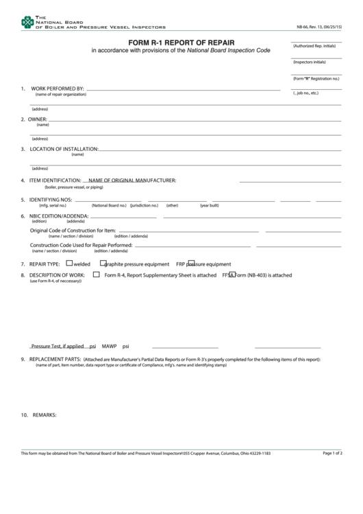 Fillable Form R1 Report Of Repair Printable pdf