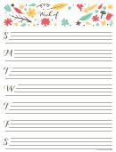 Cute Weekly Calendar Template