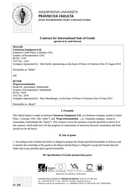 Contract For International Sale Of Goods