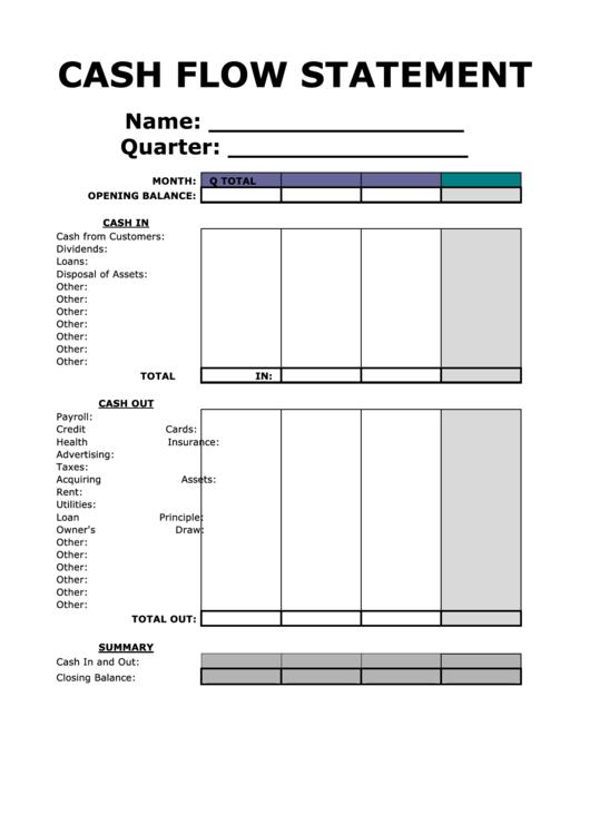 Cash Flow Statement Printable pdf