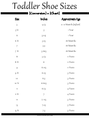 Toddlers Shoe Size Conversion Chart
