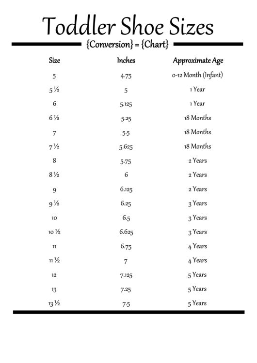 Toddlers Shoe Size Conversion Chart Printable Pdf Download