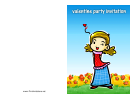 Happy Girl Valentine Party Invitation Card Template