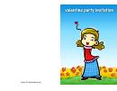 Happy Girl Valentine Party Invitation Card Template
