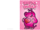 Pink Valentine Hippo Invitation Card Template