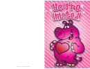 Pink Valentine Hippo Invitation Card Template