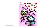 Robots Valentine Party Invitation Card Template