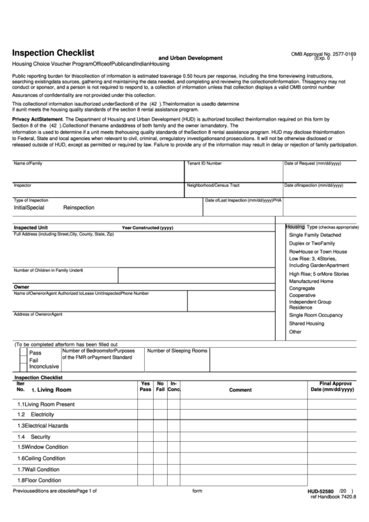 Fillable Form Hud 52580 - Inspection Checklist Template