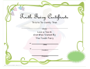 Tooth Fairy Certificate Template - Lost Tooth
