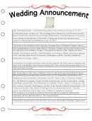 Wedding Planner Newspaper Wedding Announcement Sample