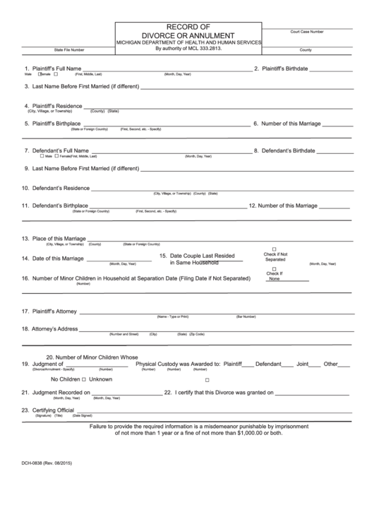 Record Of Divorce Or Annulment printable pdf download