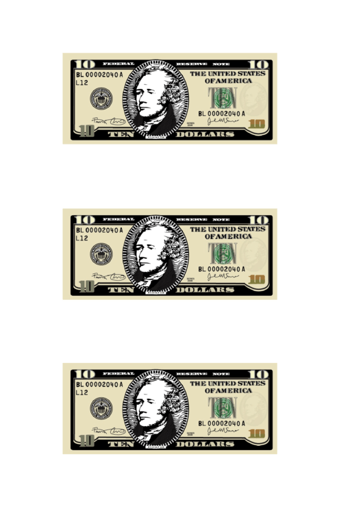 Small Ten Dollar Bill Templates Printable pdf