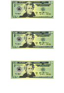 Small Twenty Dollar Bill Templates
