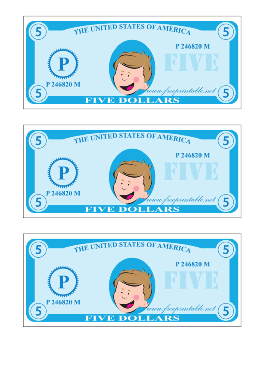 Five Play-dollars Template - Blue