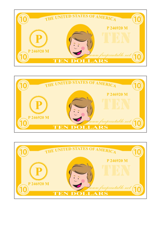 Ten Play-dollars Template - Yellow
