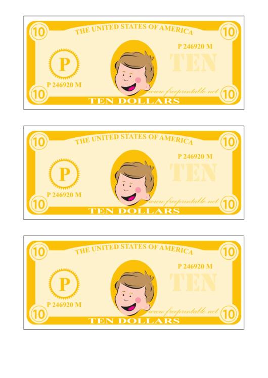 Ten Play-Dollars Template - Yellow Printable pdf
