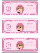 Twenty Play-dollars Template - Pink